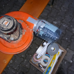 fixed air fan, with just some tape, a water bottle and some wooden sticks