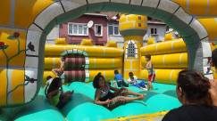 Children jumping on the bouncy castle in Balat, Istanbul