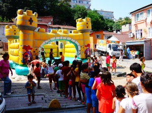 Children waiting for the bouncy castle in Balat, Istanbul