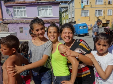Children waiting in line in Balat, Istanbul