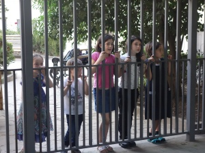 Children waiting for their turn on the castle in Tbilisi, Georgia