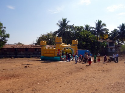 Bouncy castle with Goa Outreach in Mapusa, Goa