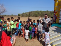 Bouncy castle with Rob James from Goa Outreach in Mapusa, Goa