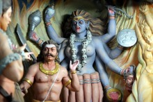 Scene from inside an actual Shiva temple telling the story of the temple
