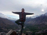 Showing off my yoga skills from India in Hunza, Pakistan