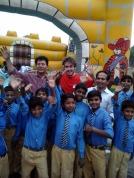 Bouncy castle in the brick kiln school near Lahore, Pakistan