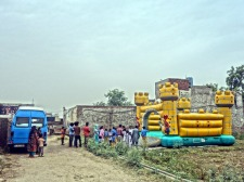 Bouncy castle in the brick kiln school near Lahore, Pakistan