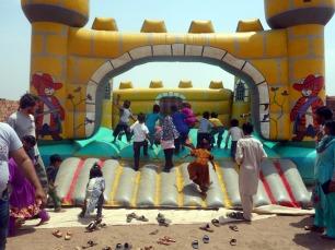 Bouncy castle in the brick kiln near Lahore, Pakistan